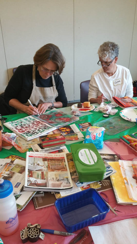 Visual journaling with rocky mountain creative quilters-6