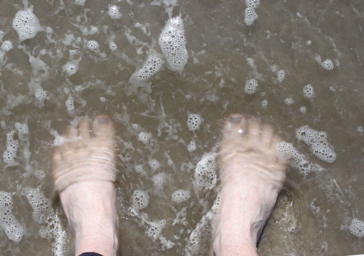 feet in the ocean water